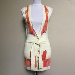 $250 OILILY pink orange Boho festival tie Vest XS